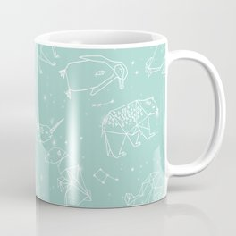Origami Constellations - geometric animals constellations design - mint Coffee Mug