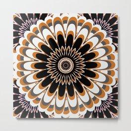 Black & Tan Full Bloom Flower Mandala Metal Print
