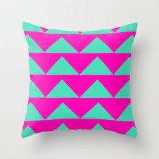 Neon Pink & Aqua Throw Pillow