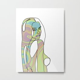Womans Outline on Rainbow With White Background Metal Print