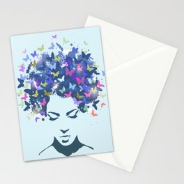 Woman with the hair made of butterflies Stationery Cards