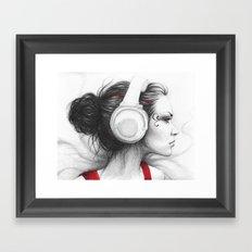 I Love Music | Girl in Headphones Framed Art Print