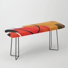 Mid Century Modern Abstract Vintage Pop Art Space Age Pattern Orange Yellow Black Orbit Accent Bench