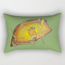 Festive Christmas Bird on a Berry Tree for the Holidays in Green Rectangular Pillow