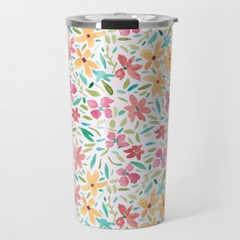 Clementine and Coral Watercolor Floral Light Travel Mug