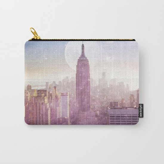 I LOVE PINK NEW YORK CITY SKYLINE - Full Moon Universe Carry-All Pouch