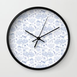 Lemony Toile de Jouy Wall Clock