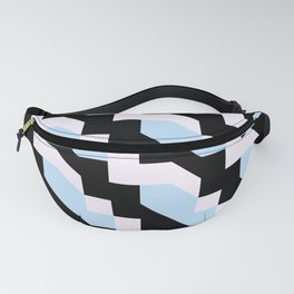 blue and black vivid colors retro geometric pattern Fanny Pack