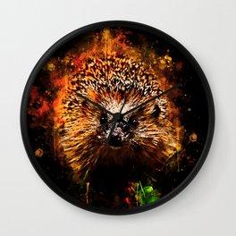 hedgehog watercolor splatters Wall Clock