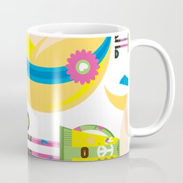 Cute Cartoon Hippie Girl Pattern Coffee Mug