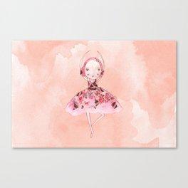Isabella Bellarina Dancing on Peach Watercolour Canvas Print