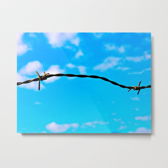 Barbed Wire Sky Metal Print