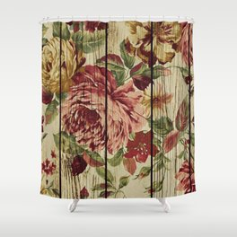 Flowers on Wood 07 Shower Curtain