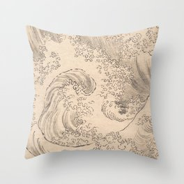 Wave by Katsushika Hokusai 1760–1849, Japanese Throw Pillow