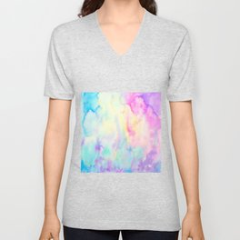 Watercolor Abstract Landscape Blue and Purple Unisex V-Neck