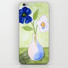 Blue White Flowers iPhone Skin