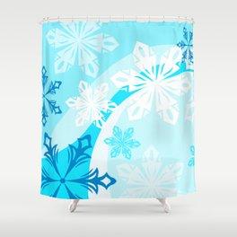 Blue Flower Art Winter Holiday Shower Curtain