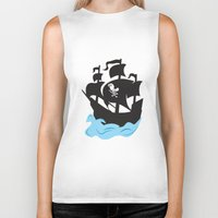 pirate ship Biker Tanks featuring Pirate Ship by Anthony Rocco