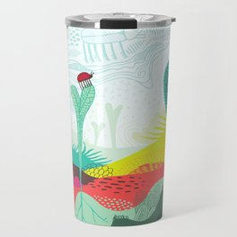 Colourful landscape with young plants, insects and birds Travel Mug