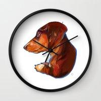 dachshund Wall Clocks featuring Dachshund by Kendra Aldrich