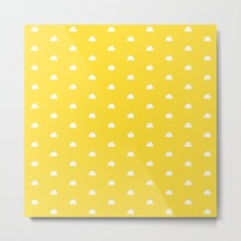 Yellow background with small white clouds pattern Metal Print