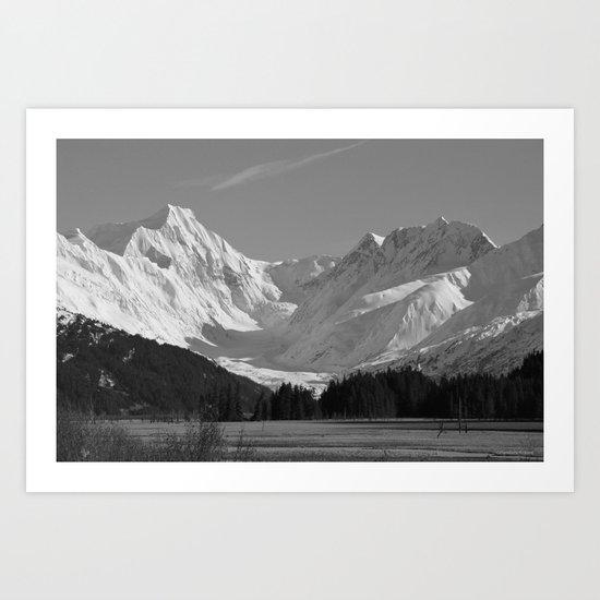 Alaskan Mts. ~ Mono II Art Print