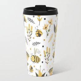 Bees and ladybugs. Gold and black Travel Mug