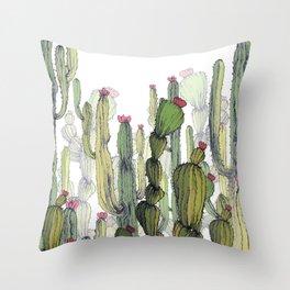 drawing cactus Throw Pillow
