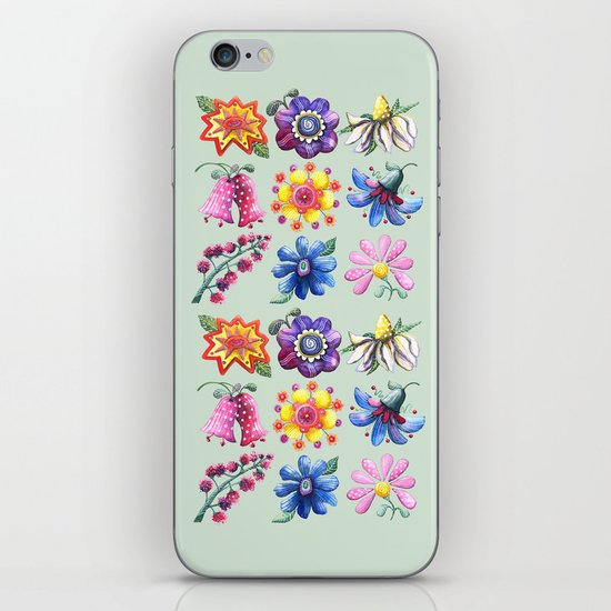 Pretty Flowers All in a Row Green iPhone Skin