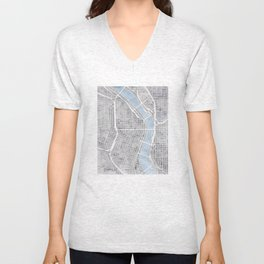 Portland Oregon watercolor city map art Unisex V-Neck