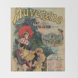 Vintage Auvergne French travel advertising Throw Blanket
