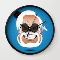 hayao miyazaki Wall Clocks featuring Dōmo Arigatō Hayao Miyazaki (Color version) by Arian Noveir