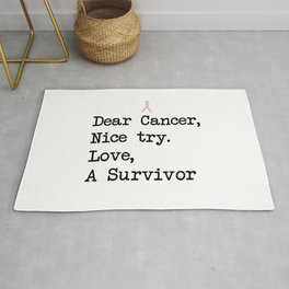 Nice Try, Cancer (Black Text) Rug