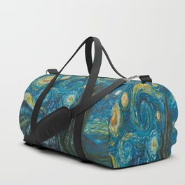 Modern interpretation of Vincent Van Gogh's scene of The Starry Night. Duffle Bag