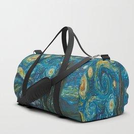 Modern interpretation of Vincent Van Gogh's scene of The Starry Night. Duffle Bag