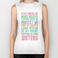 sisters Biker Tanks featuring sisters by studiomarshallarts