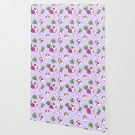 Guinea Pig and Radish Pattern Wallpaper