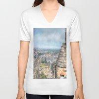 edinburgh V-neck T-shirts featuring Edinburgh Castle by Christine Workman