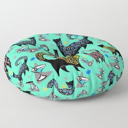 Blue Snobby Cocktail Cats Floor Pillow