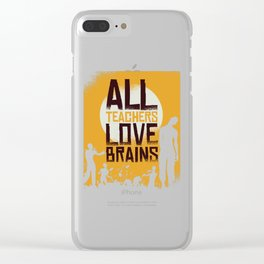 Funny teacher loves brains halloween outfit for costume party Clear iPhone Case
