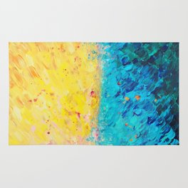 THE DIVIDE - Stunning Bold Colors, Ocean Waves Sun, Modern Beach Chic Theme Abstract Painting Rug