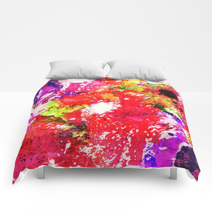 Expression Of Colour - Abstract Painting In Rainbow Colours Comforters