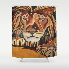 Lion Vector In Cubist Style Shower Curtain