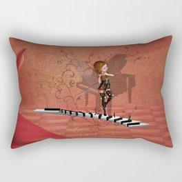 Cute fairy dancing on a piano Rectangular Pillow
