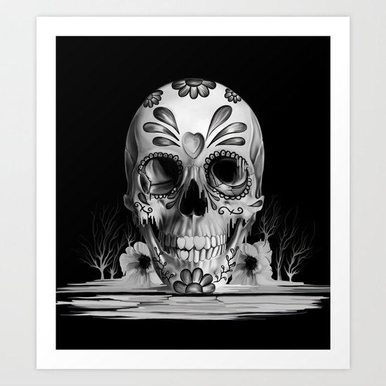 Pulled sugar, day of the dead skull Art Print