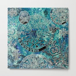 Aztec blues2 Metal Print