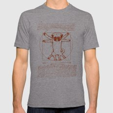 Vitruvian pug MEDIUM Tri-Grey Mens Fitted Tee