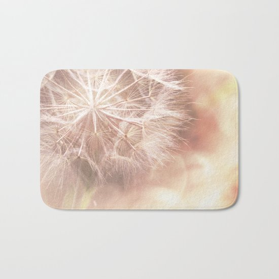 Pink Macro (2) Dandelion Flower - Floral Nature Photography Art and Accessories Bath Mat