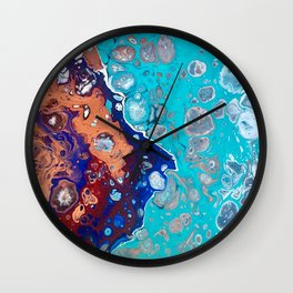 Split, Abstract Fluid Acrylic Pour  Wall Clock