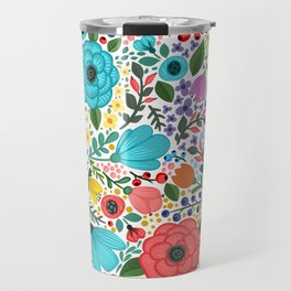 Colorful Vintage Spring Flowers Travel Mug